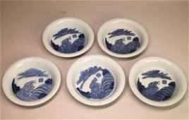 Set of Five Japanese Blue White Porcelain Dishes -