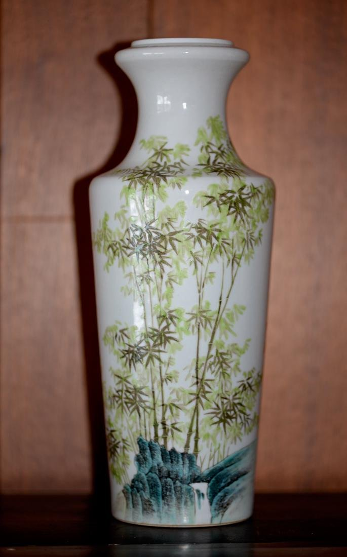 Chinese Porcelain Vase with Bamboo Scene