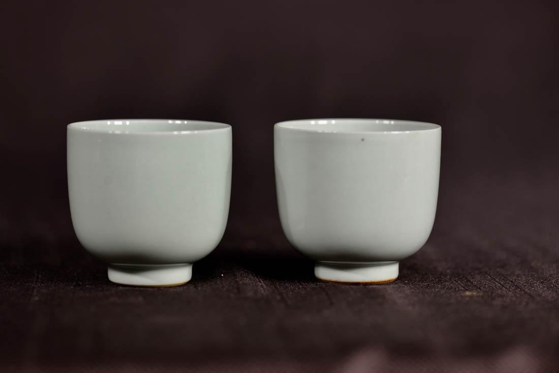 Pair Chinese Celadon Monochrome Porcelain Cups