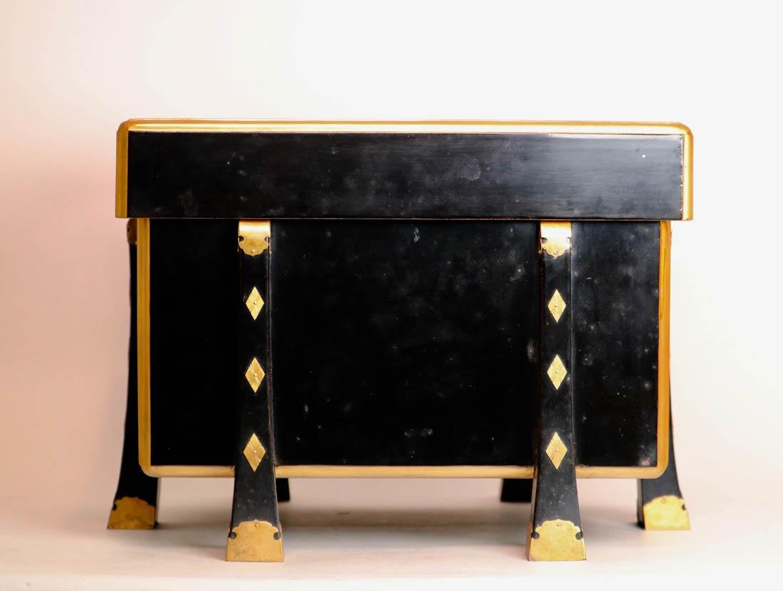Japanese Black Lacquer Chest with Fitted Wood Box