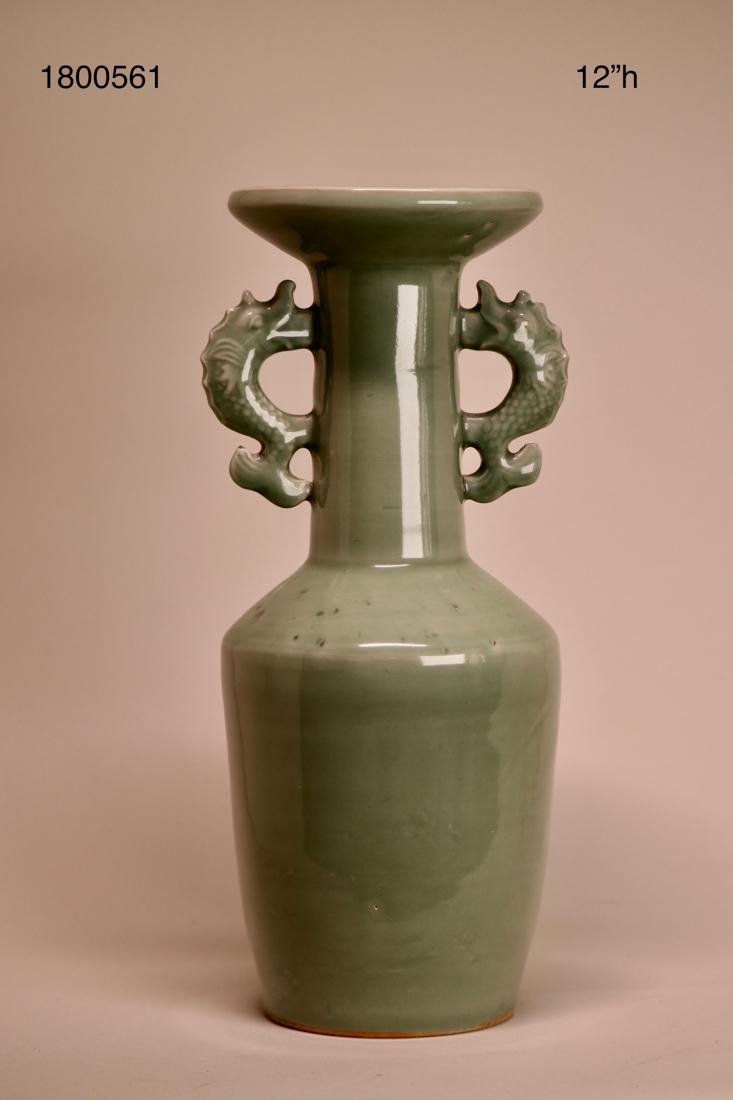 Chinese Celadon Porcelain Vase with Two Handle