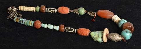 Chinese Tibetan Necklace  Agate and Hardstone Beads