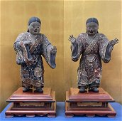 Pair Large Japanese Lacquer on Wood Figurines