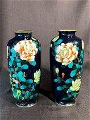 Pair Japanese Gimbari Cloisonne Vase - Floral