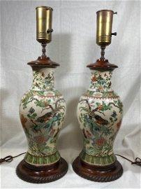 Pair Chinese Famille Verte Porcelain Vases Lamps