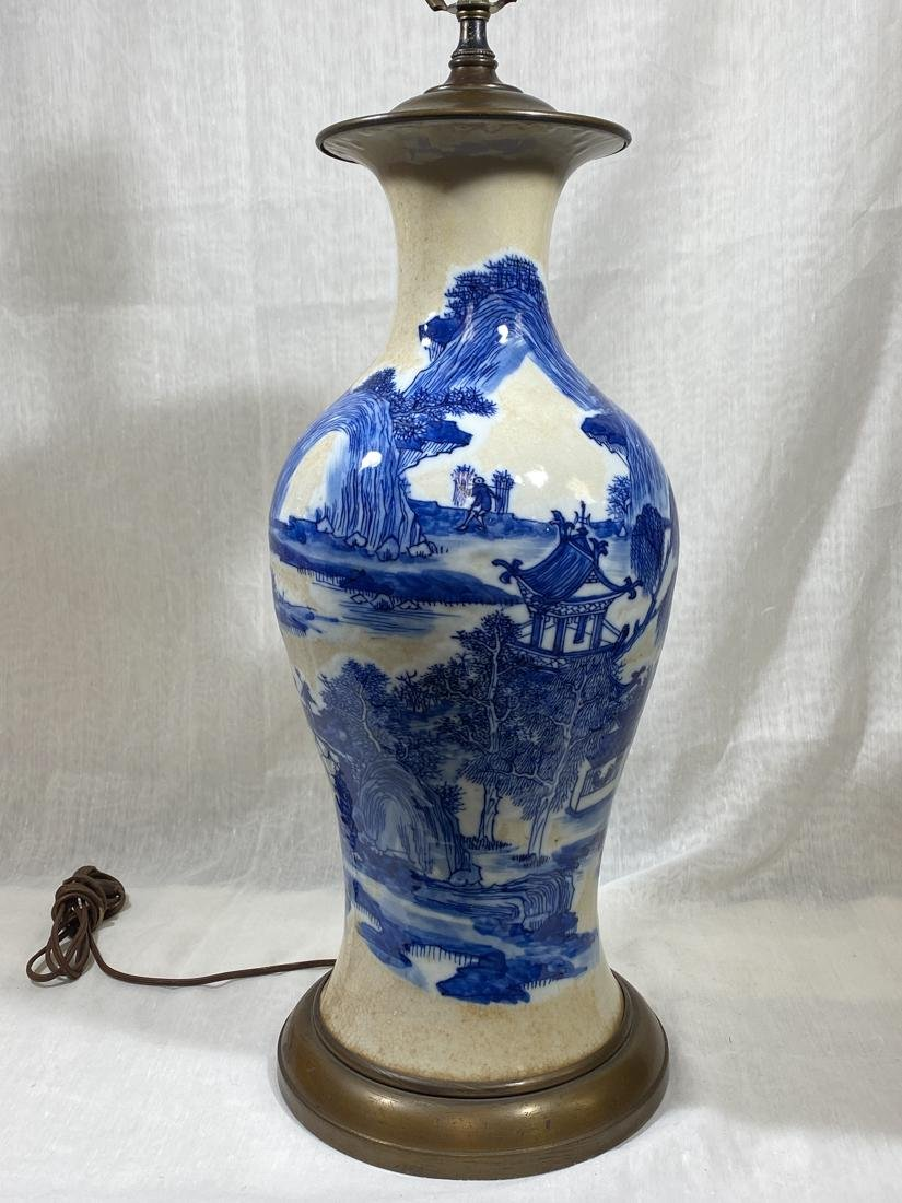Chinese Blue White Porcelain Vase Fisherman Vase Lamp