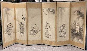 Japanese Six Fold Screen with Immortal Scene