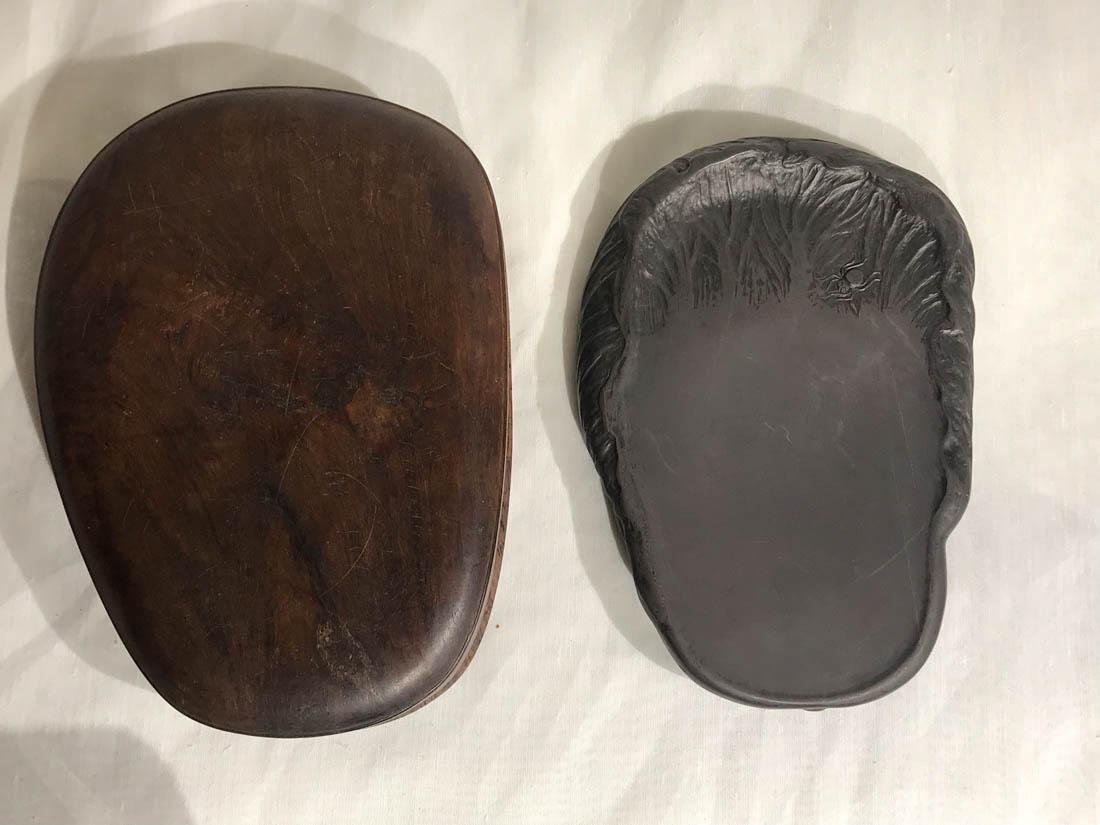 Chinese Duan Inkstone with Rosewood Case - Cabbage