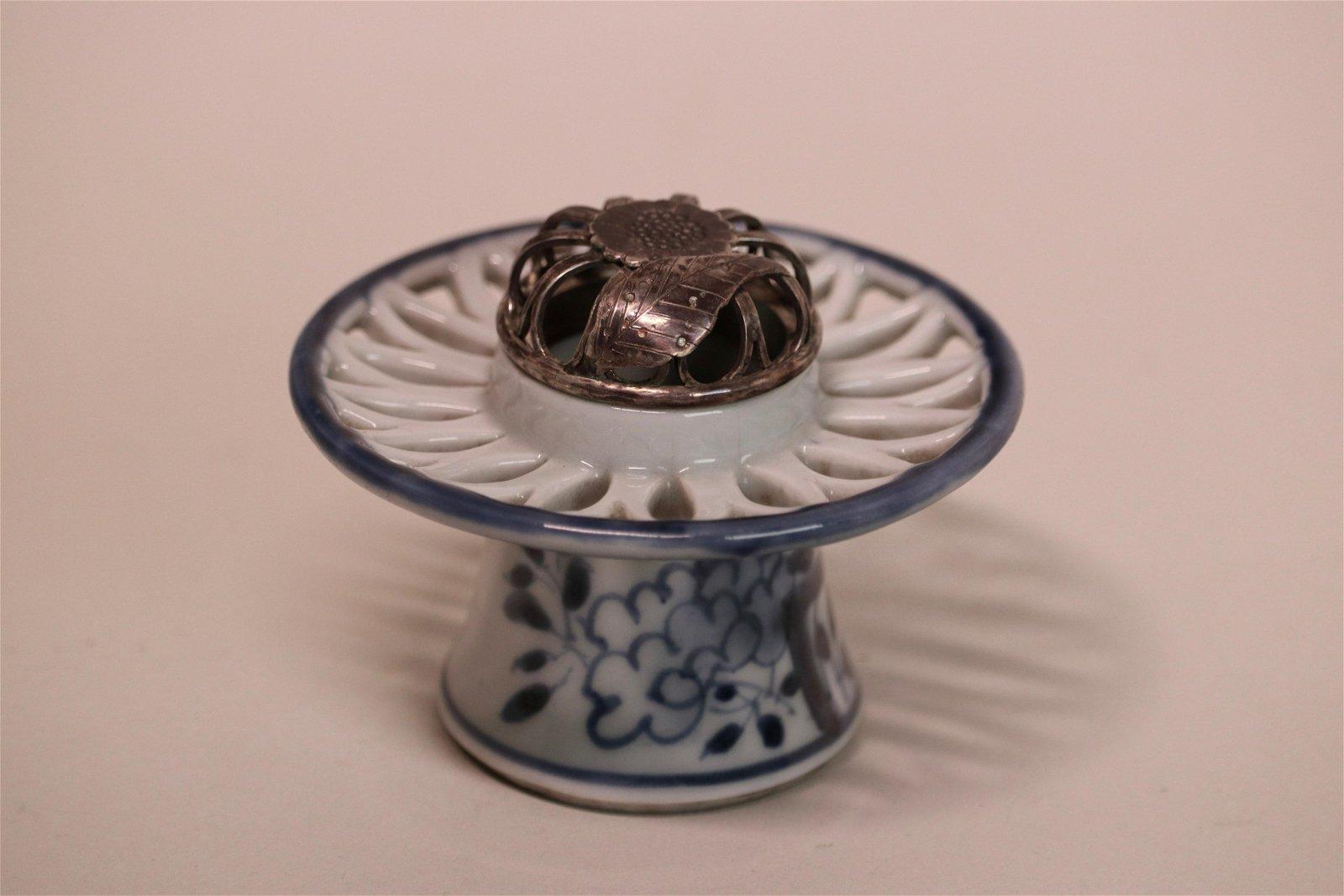 Japanese Blue White Porcelain Censer with Silver Lid