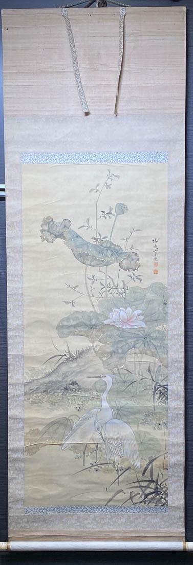 Japanese Scroll Painting on Silk - Yamamoto Baiitsu