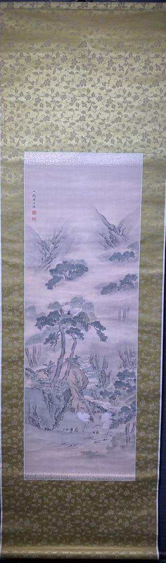Japanese Scroll Painting on Silk - Crane in Mountain