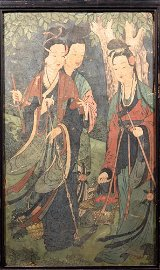 Antique Chinese Fresco Painting of Three Beauty