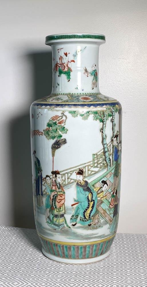 Chinese Rouleat Porcelain Vase with Famille Verte Glaze