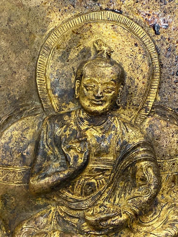 18th cen Tibetan Copper Repousse Plaque