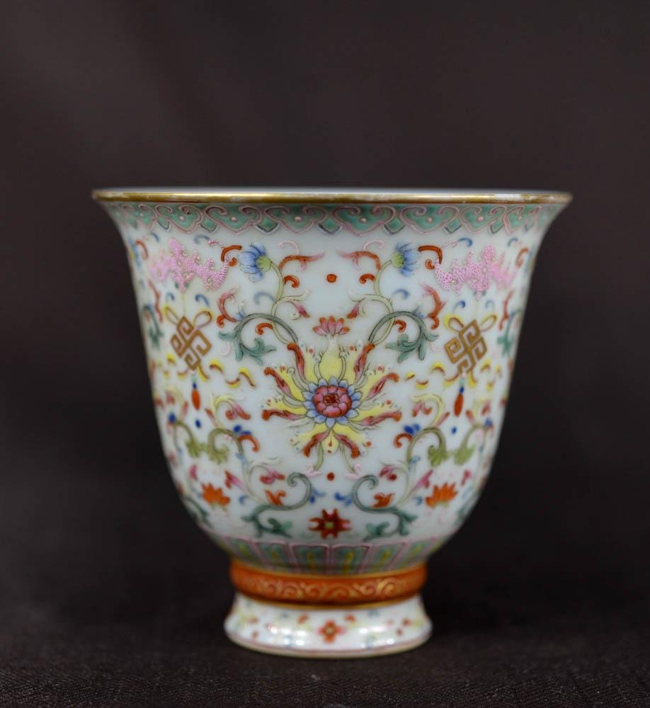 Chinese Famille Rose Porcelain Stemcup