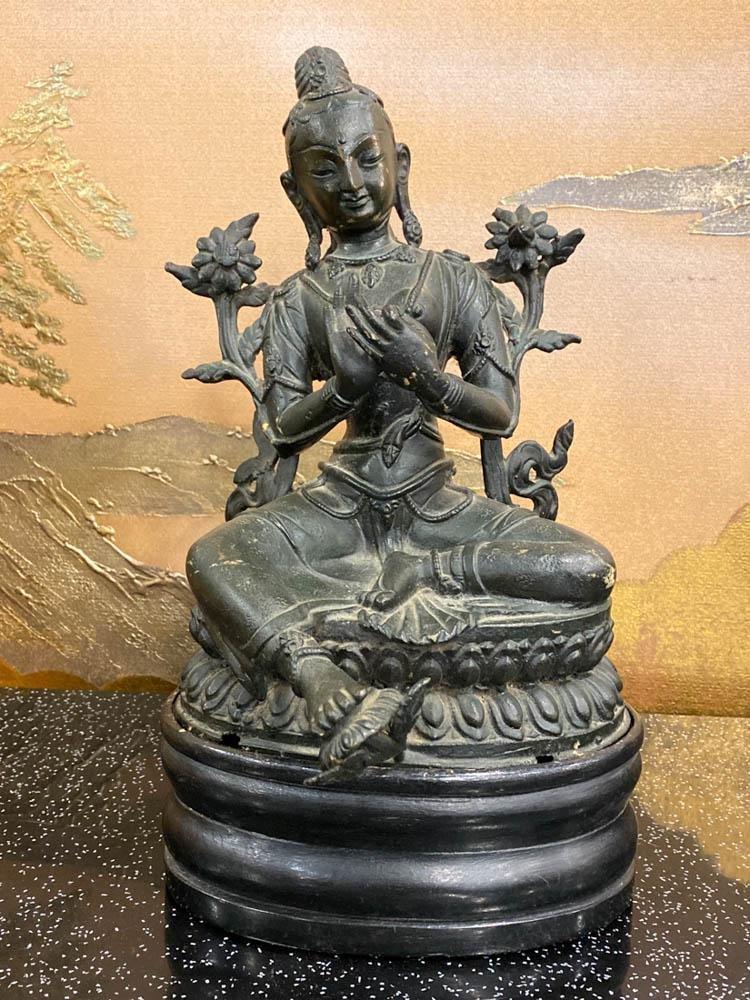 Tibet Bronze Seated Tara on Wood Base