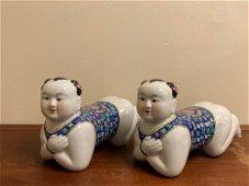 Pair Chinese Porcelain Model of Boys