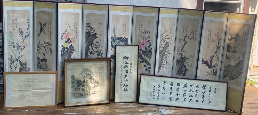 Group of Korean Painting and Screen from USA President