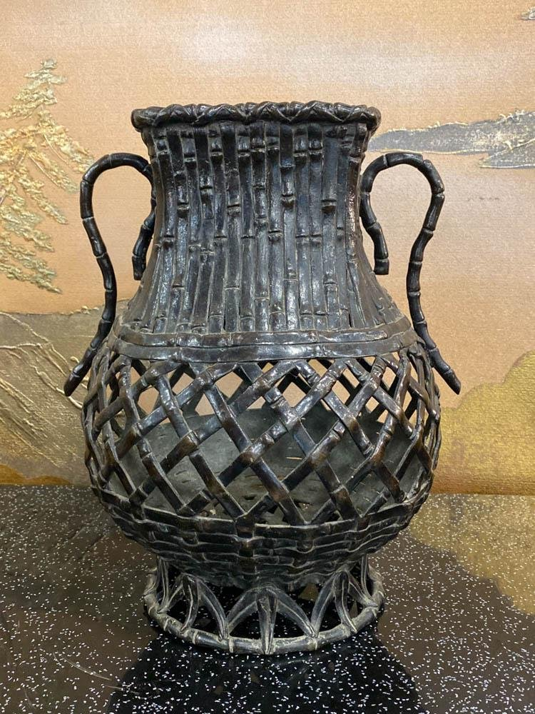 Japanese Bronze Vase with Handle - Bamboo Woven