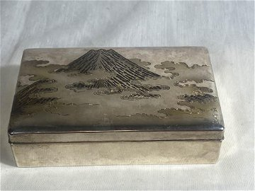 Japanese Silver Box with Mt Fuji Scene