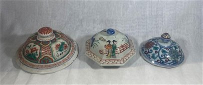 Chinese Porcelain Vase Covers - Group of three