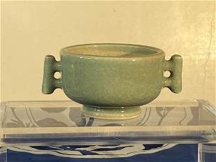 Chinese Celadon Porcelain Censer with Two Handle