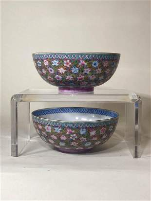 Pair Chinese Egg Shell Porcelain Bowl with Milifloral
