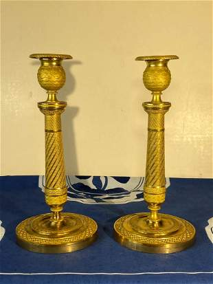 Pair of Charkes X Gilt Bronze Candle Holder