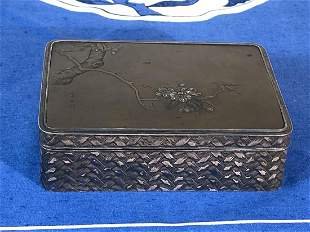 Signed Japanese Mixed Metal Box - Cherry Blossom