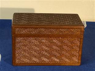 Japanese Carved Wood Box with Geometric Pattern