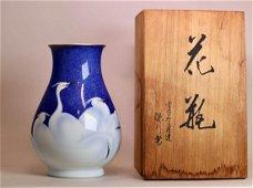 Japanese Fukugawa Porcelain Vase - Heron