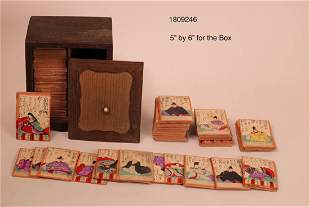 Antique Japanese Aristocrat Game Cards with Fancy Wood