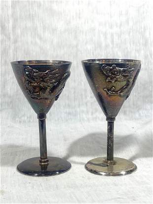 Pair Chinese Export Silver Stem Cup - Dragon