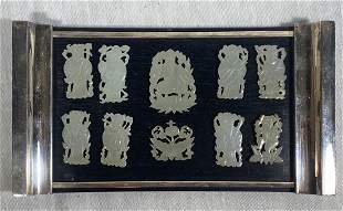 Set of Chinese White Jade Immortal Plaques with Wood