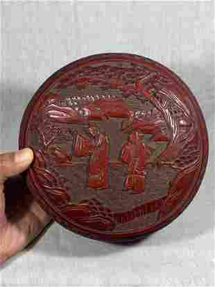 Chinese Carved Cinnebar Box with Scholar Scene