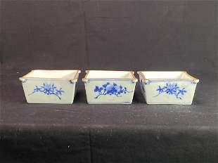 Japanese Seto Porcelain Square Bowls - Group of Three
