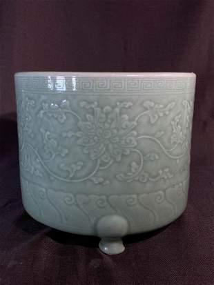 Chinese Ming Celadon Porcelain Censer - Lotus