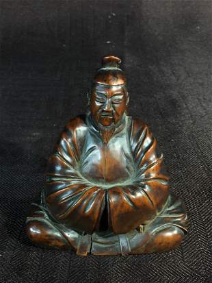 Japanese Boxwood Okimono Carving of a Priest