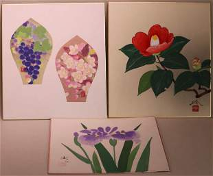 Three Japanese Water Color - Modern Floral