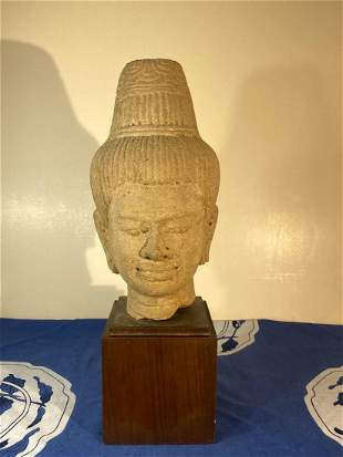 Southeast Asia Carved Stone Buddha Head