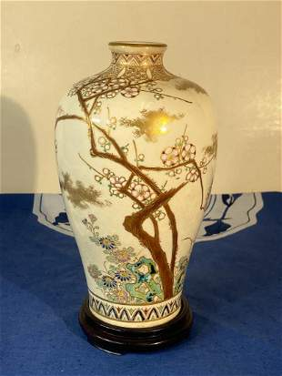 Japanese Satsuma Vase with Wood Base