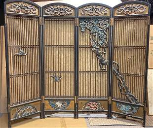 Japanese Carved Wood Screen with Polychrome