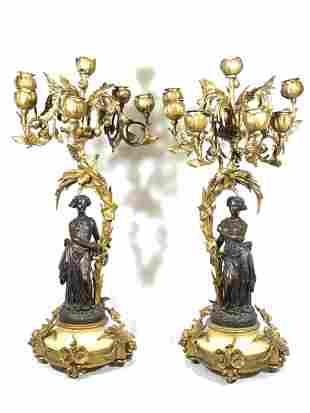Pair French Bronze Figural Candlebra