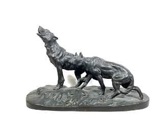 Japanese Meiji Period Bronze Sculpture - Wolf Pack