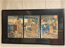 Japanese Wood Block Print - Geisha in house