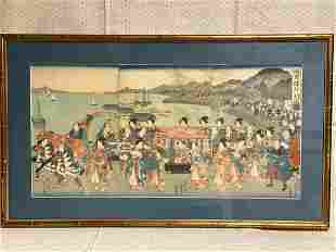 Japanese Wood Block Print - Wedding parade