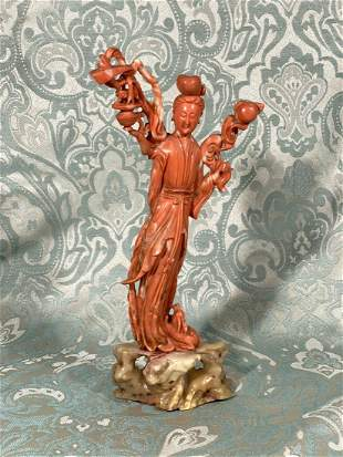 Chinese Carved Coral Beauty on Shousan Stone Base