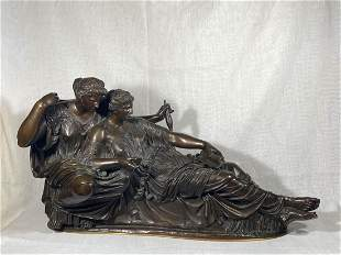 Stunning Signed French Bronze Figural Group