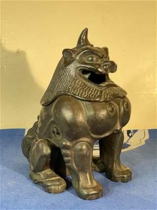 Japanese Bronze Foolion Censer - Signed