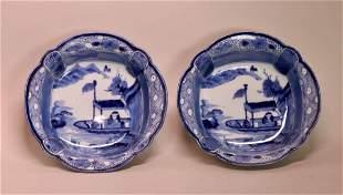 Pair 18th cen Japanese Arita Blue White Porcelain Bowls